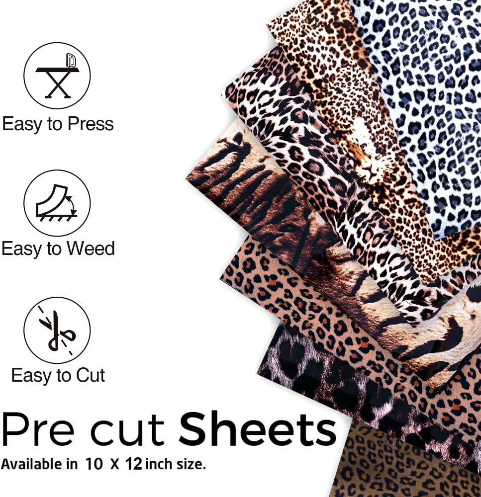 Camouflage HTV Heat Transfer Vinyl Bundle FANGZHIDI 6 Sheets 12in x 10in Camo Iron-on Craft Fabric PU Vinyls Army Rolls Easy to Cut and Weed for DIY Design