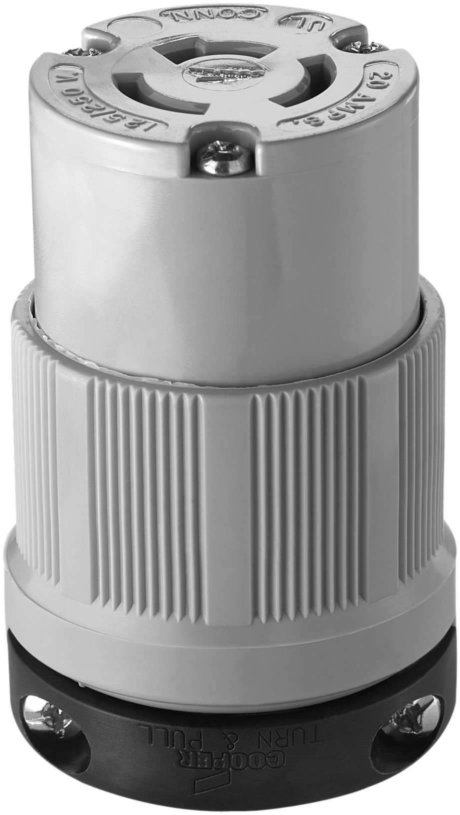 Eaton 7314C 20 Amp 125/250V Safety Grip Connector, Gray