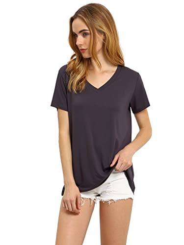 ROMWE Women's Summer Short leeve T-Shirt Basic Deep V Neck Tee