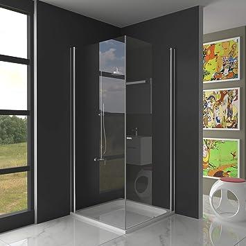 Mampara de ducha, plegable, 90 x 90 x 195 cm, cristal enriquecido ...
