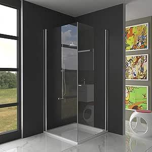 Mampara de ducha, plegable, 90 x 90 x 195 cm, cristal enriquecido, para montaje en esquina: Amazon.es: Bricolaje y herramientas