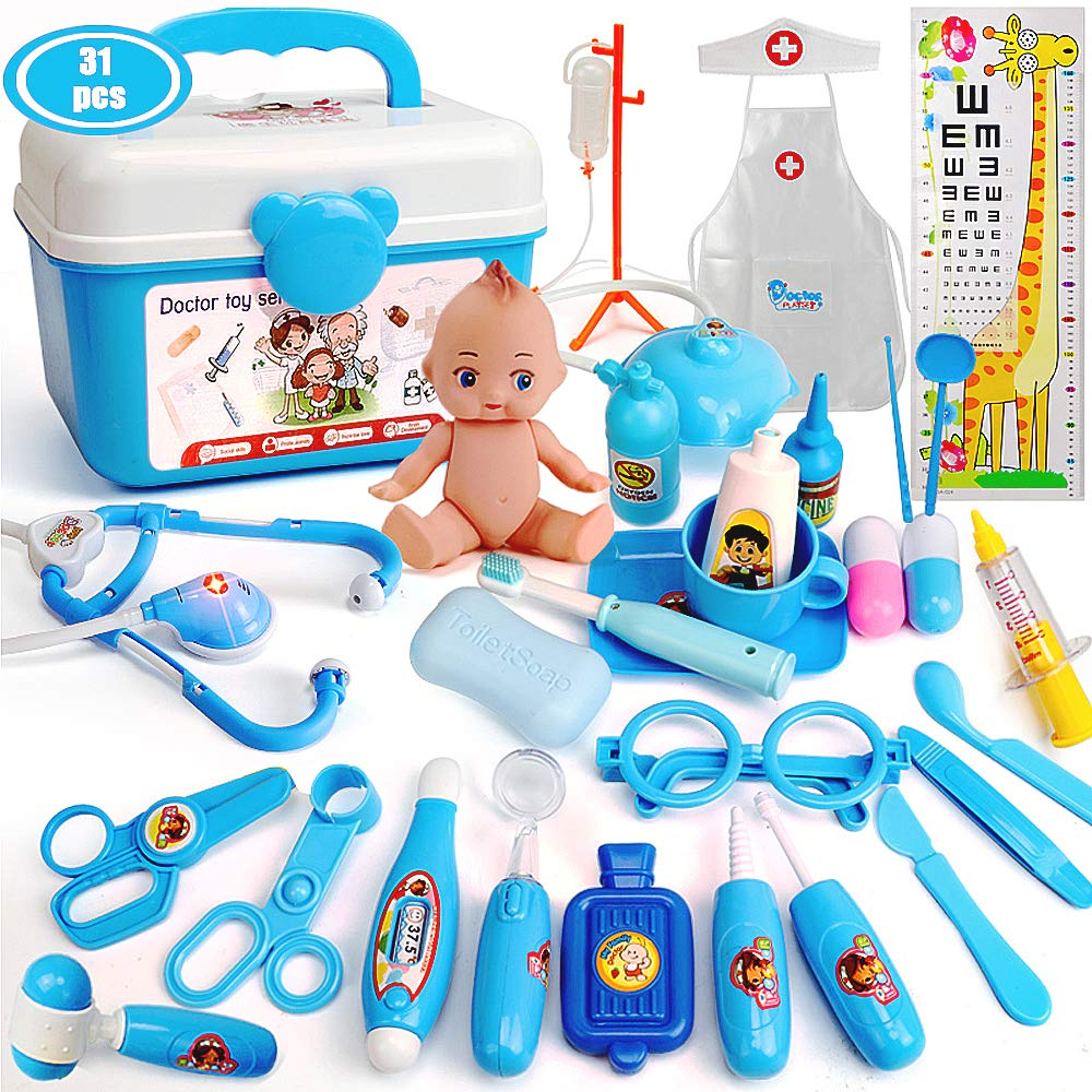 Bunny.K Kids Doctor Kit, Toy Doctor Set for Toddlers 31pcs Durable Medical Pretend Play Toy Set(Blue)