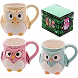 Ceramic Polka Dot Owl Mug In Presentation Box - Three colours one selected at random on despatch