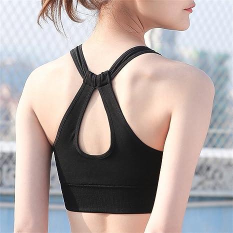 Yamyannie Mujer Bralette Top Sujetador de Yoga de Gran tamaño Cruz Belleza Espalda Sujetador absorción de