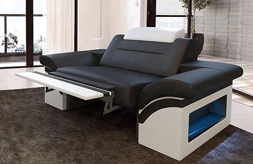 Sofa Dreams Cuero Sillón Monza Blanco y Negro: Amazon.es: Hogar