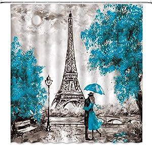 XZMAN Oil Painting Paris Shower Curtain Modern Couple European City Landscape France Eiffel Tower Romantic Lover Blue Tree Art Black Vintage Polyester Fabric Bathroom Decor Set 70 Inches Include Hooks