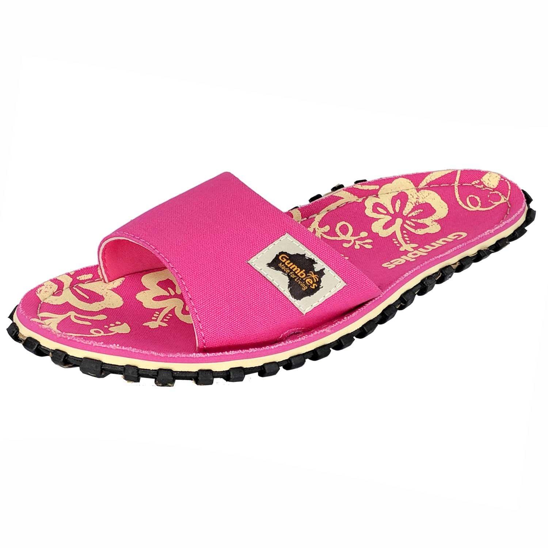 Gumbies Slide   Tragefreundliche Unisex Sandalen Pink Hibiscus