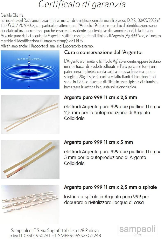 Electrodos de Plata Pura 999 2 plaquetas 11cm x 5mm para la produccion de Plata coloidal en casa: Amazon.es: Electrónica