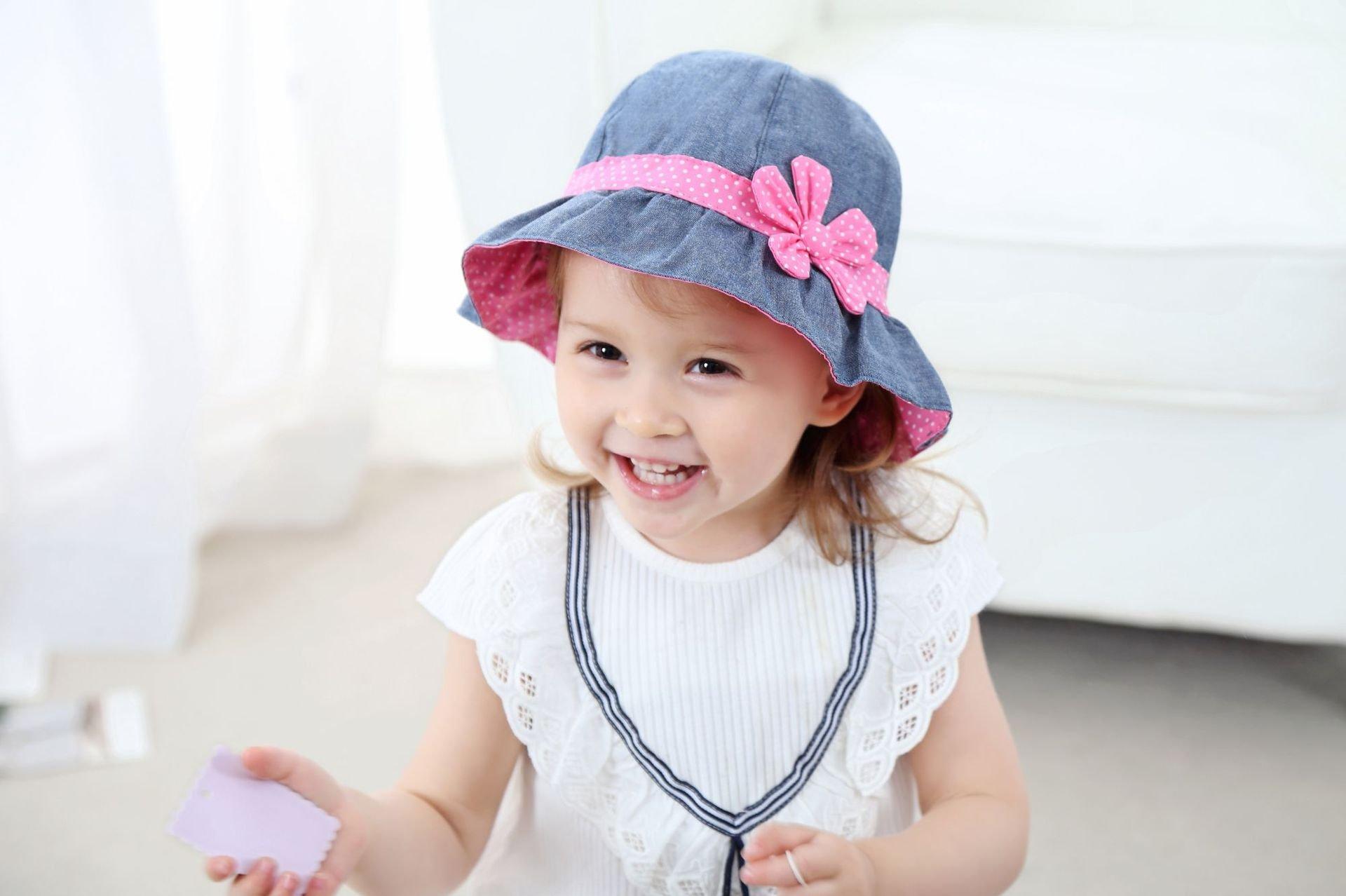 Toddler Baby Girls Denim Sun Hats with Chin Strap Kid Summer Cotton Sunhat Polka Dot Caps by HUIXIANG (Image #6)