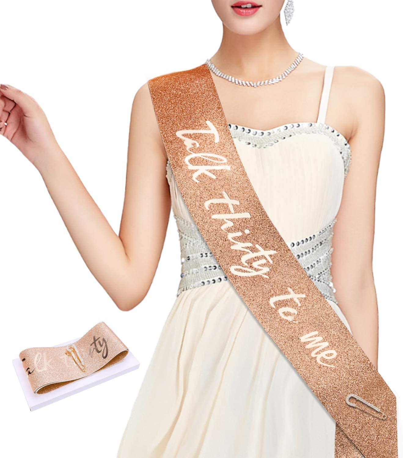 Qpout Glitter Rose Gold Talk Thirty to Me Sash-30th Birth Birthday Sash 30 Bday 30 Bday 30 Birthday Gift Birthday Party Party Favors Party Supplies Decoration