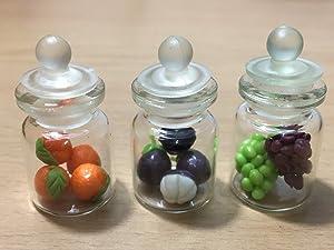 3pc Miniature Fruit Food Vegetable Dollhouse Fruit in Clear Glass Mini Bottle Fruit Mix Orange #MF004