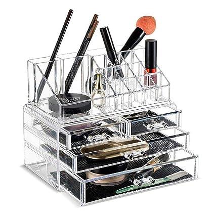 Queta - Estuche organizador de cosméticos acrílicos para maquillaje y joyería, caja transparente, juego