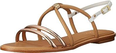 Calvin Klein Womens Udela Rose Gold/Sand Gold Leather Sandal 5.5 M