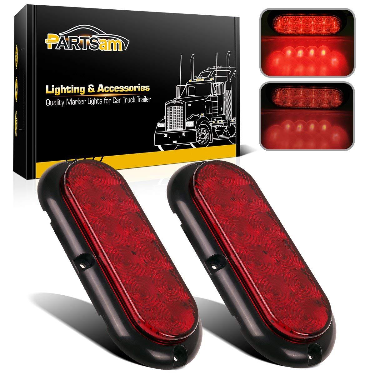 Partsam 2pcs 6 Red 10LED Oval Truck Trailer Stop Turn Brake Tail Light Sealed Flange Mount