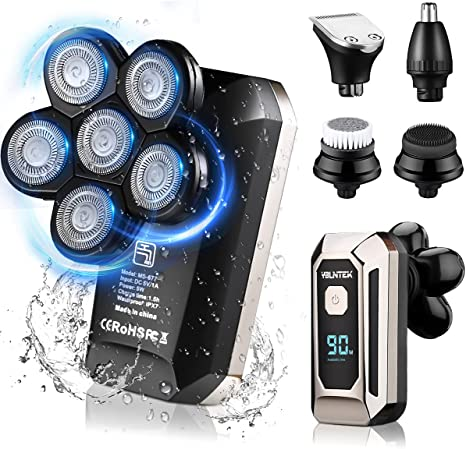 Head Shaver,YBLNTEK Electric Razor for Men,Electric Head Shaver for Men Grooming Kit,Upgrade 5 in 1 Wet Dry Six-Head Shaver,Beard,Nose,Ear,Body Hair Trimmer,IPX7 Waterproof,Cordless Rechargeable,LED