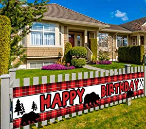 Colormoon Large Lumberjack Birthday Banner, Red Buffalo Plaid Birthday Banner, Woodland Bear Birthday Supplies Party Decorations (9.8 x 1.5 ft)