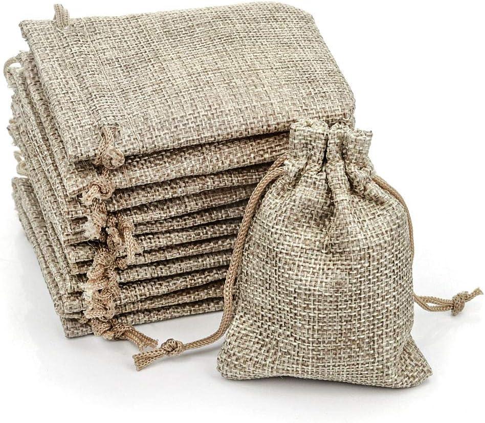 RUBY - 100 Bolsitas Saco de Yute 9cm x 7cm para Regalo joyeria, bolsita para Regalo de Tela de arpillera, Bodas, comuniones, Saco Navidad, reuniones, artesanía de Bricolaje (100pcs Natural)