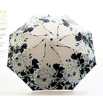 Manija De La Impresión Creativa Paraguas Plegable Automático Tri-fold Paraguas De Vinilo Lluvia Paraguas
