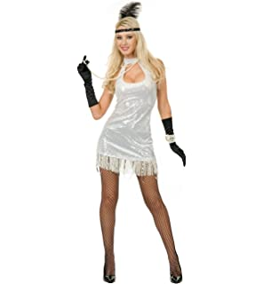 20s Flapper Adult Costume White - Large