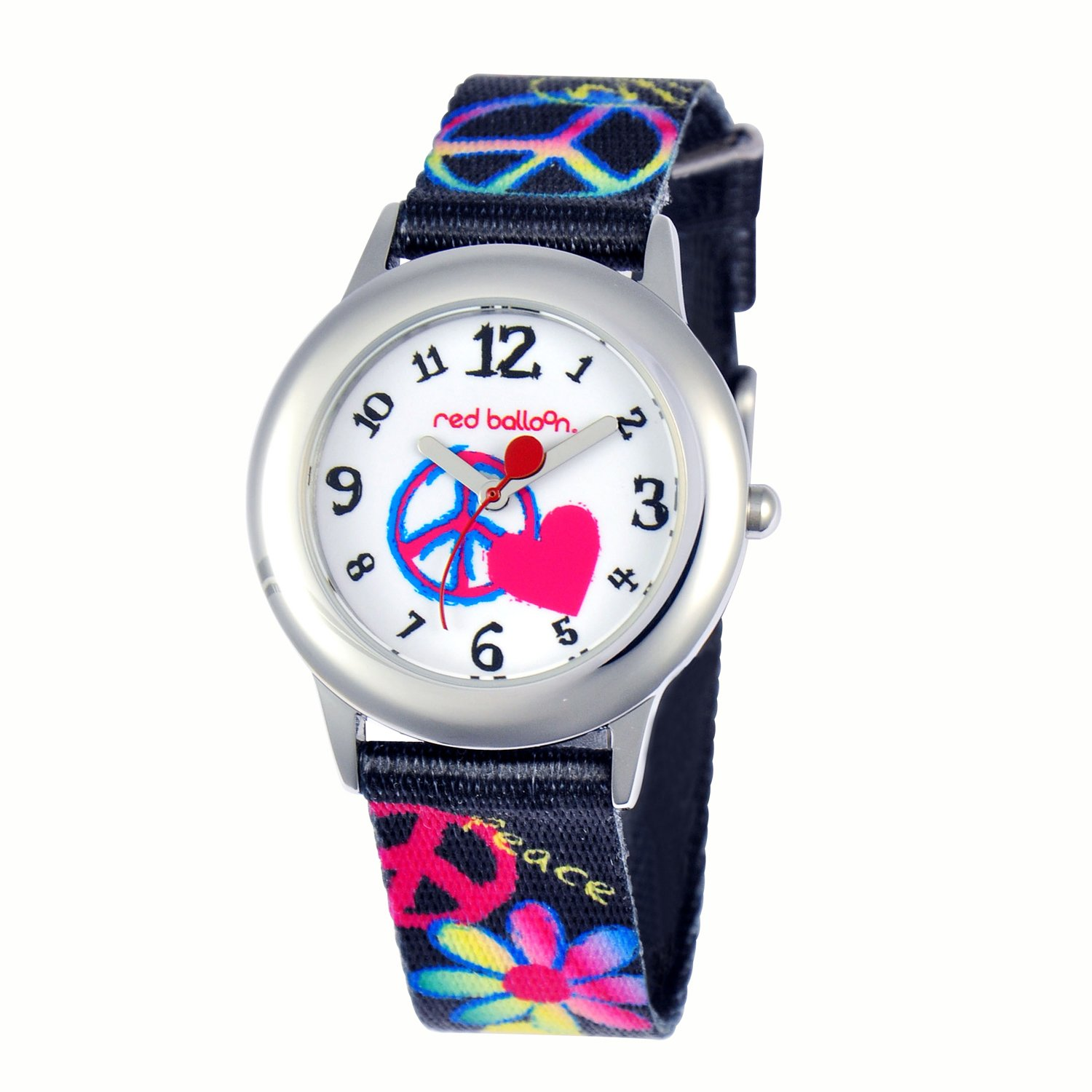 Red Balloon Kids' W000340 Peace Love and Happiness Tween Stainless Steel Printed Strap Watch