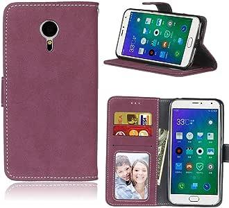 Sangrl Libro Funda para Meizu MX5 / M575M (5.5 Pulgada), PU Cuero Cover Flip Soporte Case [Función de Soporte] [Tarjeta Ranuras] Cuero Sintética Wallet Flip Case Rosa roja: Amazon.es: Electrónica