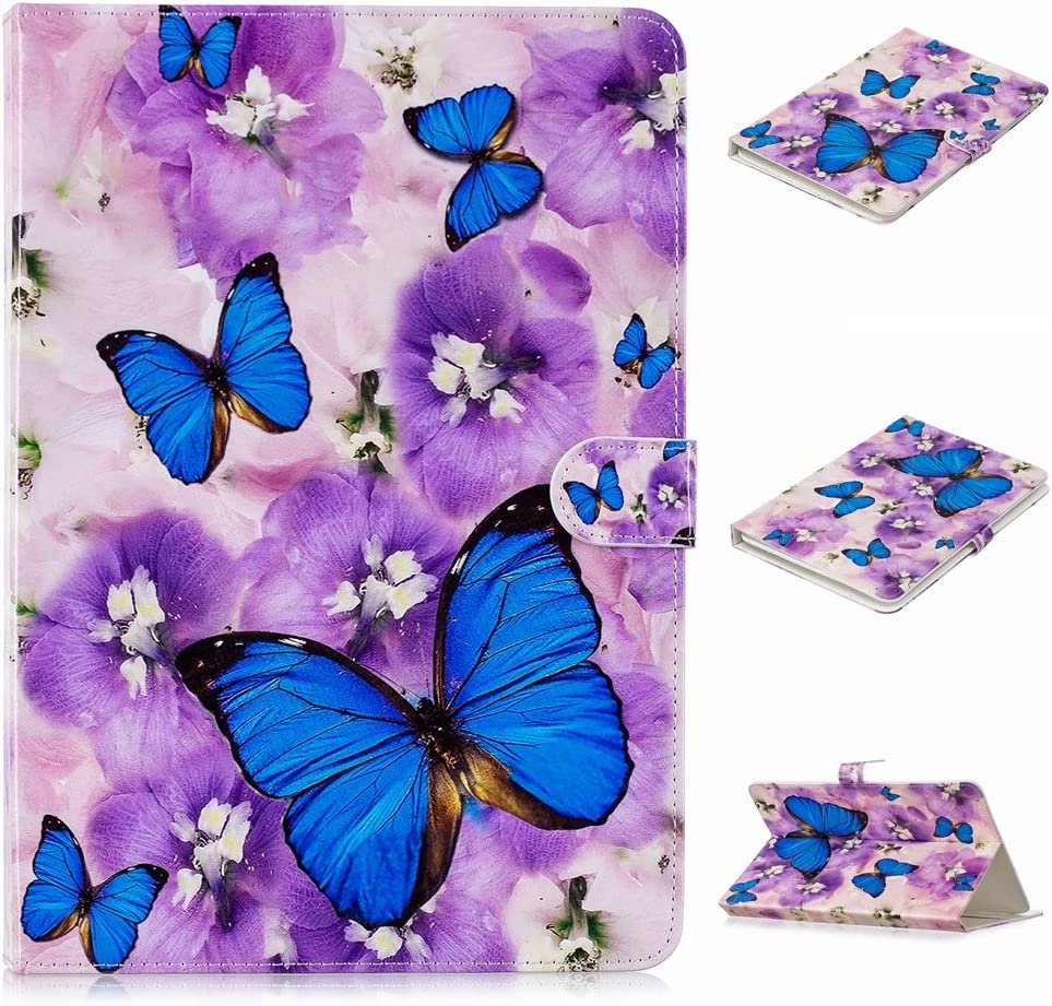 Dteck Universal Case for 6.5-7.5 inch Tablet, Slim Light PU Leather Protective Case with Card Slot Cute Flip Stand Wallet Cover for All 6.5-7.5 inch iPad Android Windows Tablet,Flower Butterfly