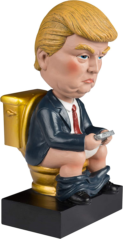 Golden Toilet Donald Trump Bobblehead White Elephant Gag Gift Desk Mantel Piece Toilet Donald Gag Gifts