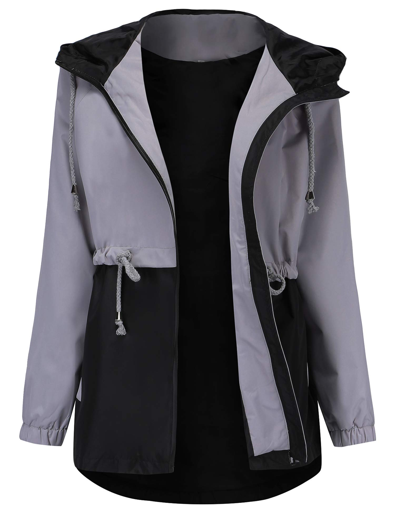Women's Warm Windbreaker Waterproof Rain Jackets Versatile Anorak Jackets Mountain Ski Coat Grey M by Romanstii