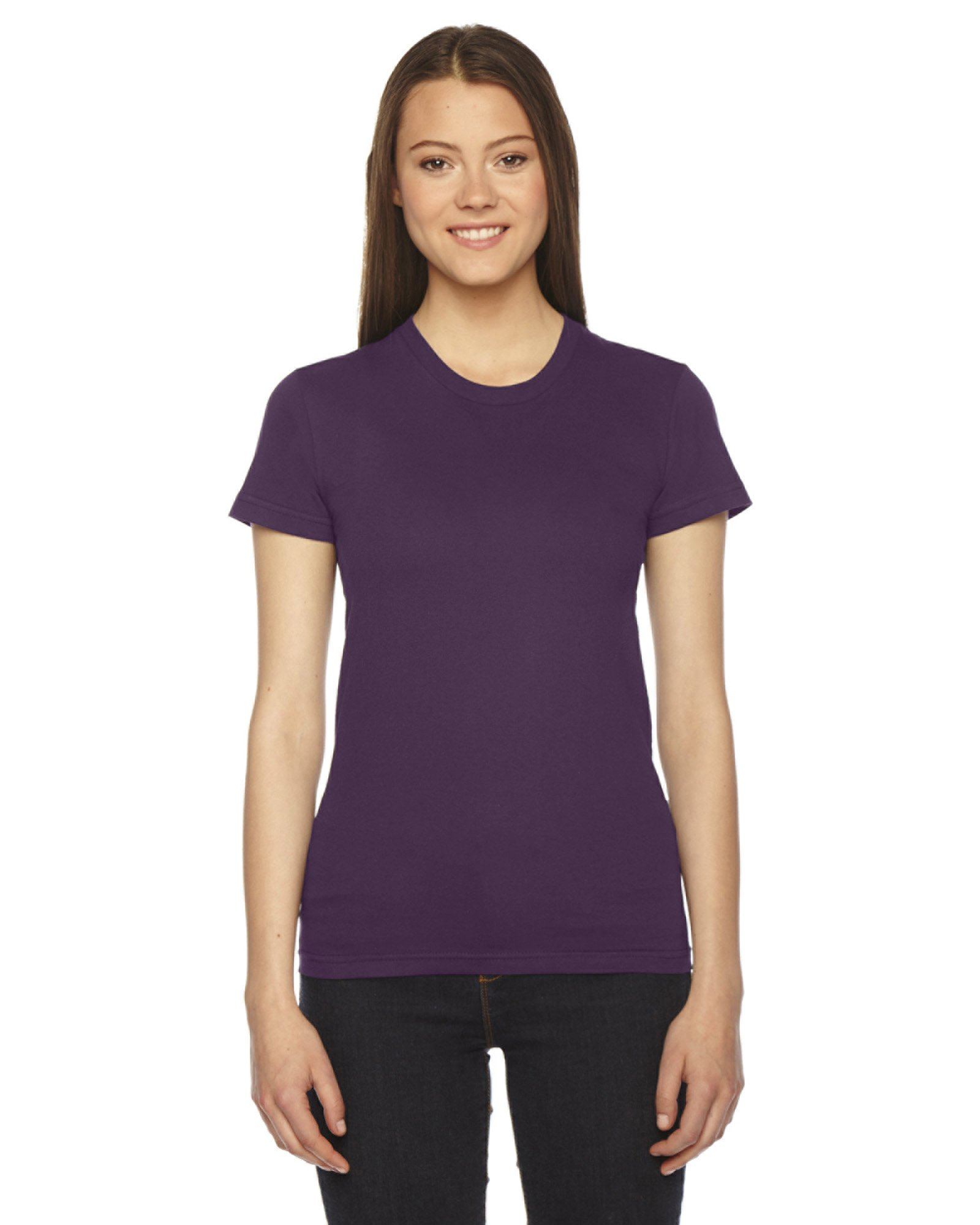 American Apparel Women's Fine Jersey Short Sleeve T-Shirt - Eggplant - Large by American Apparel (Image #1)