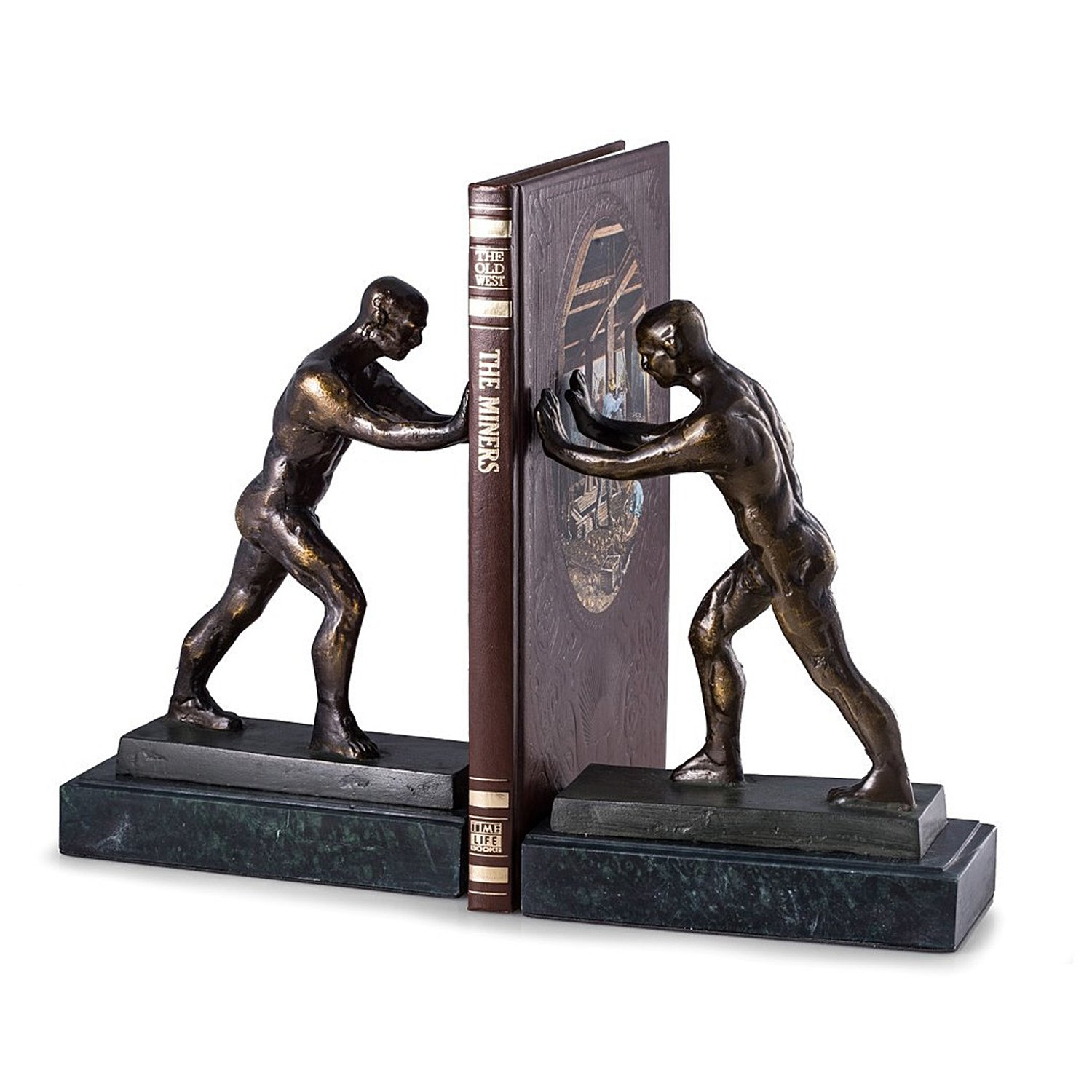 Bookends - Strong Man Bookends - Atlas Bookends on Marble Base - Book Ends by KensingtonRow Home Collection