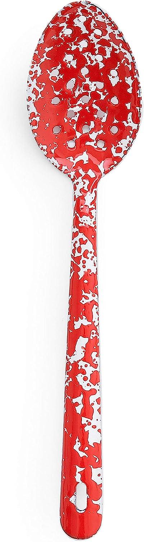 Enamelware Slotted Spoon, 12 inch, Red/White Splatter (Single)