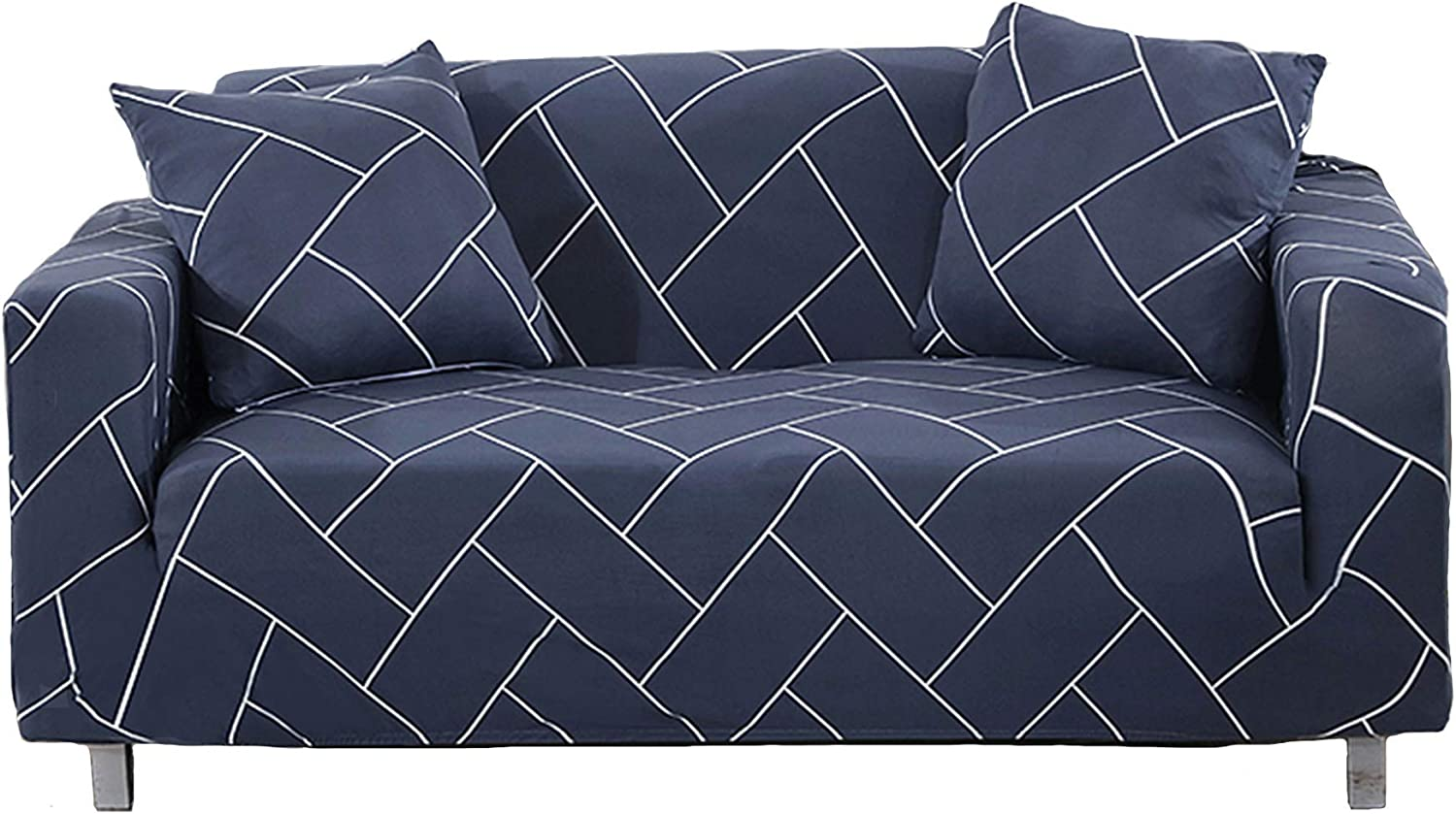 Novelome Soft Fitted Stretch Sofa Slipcover - Stylish Modern Pattern Designs - Furniture Couch Protector Include Pillow Cases – All Seasons Fall Winter Spring Summer (Navy, Three Seaters)