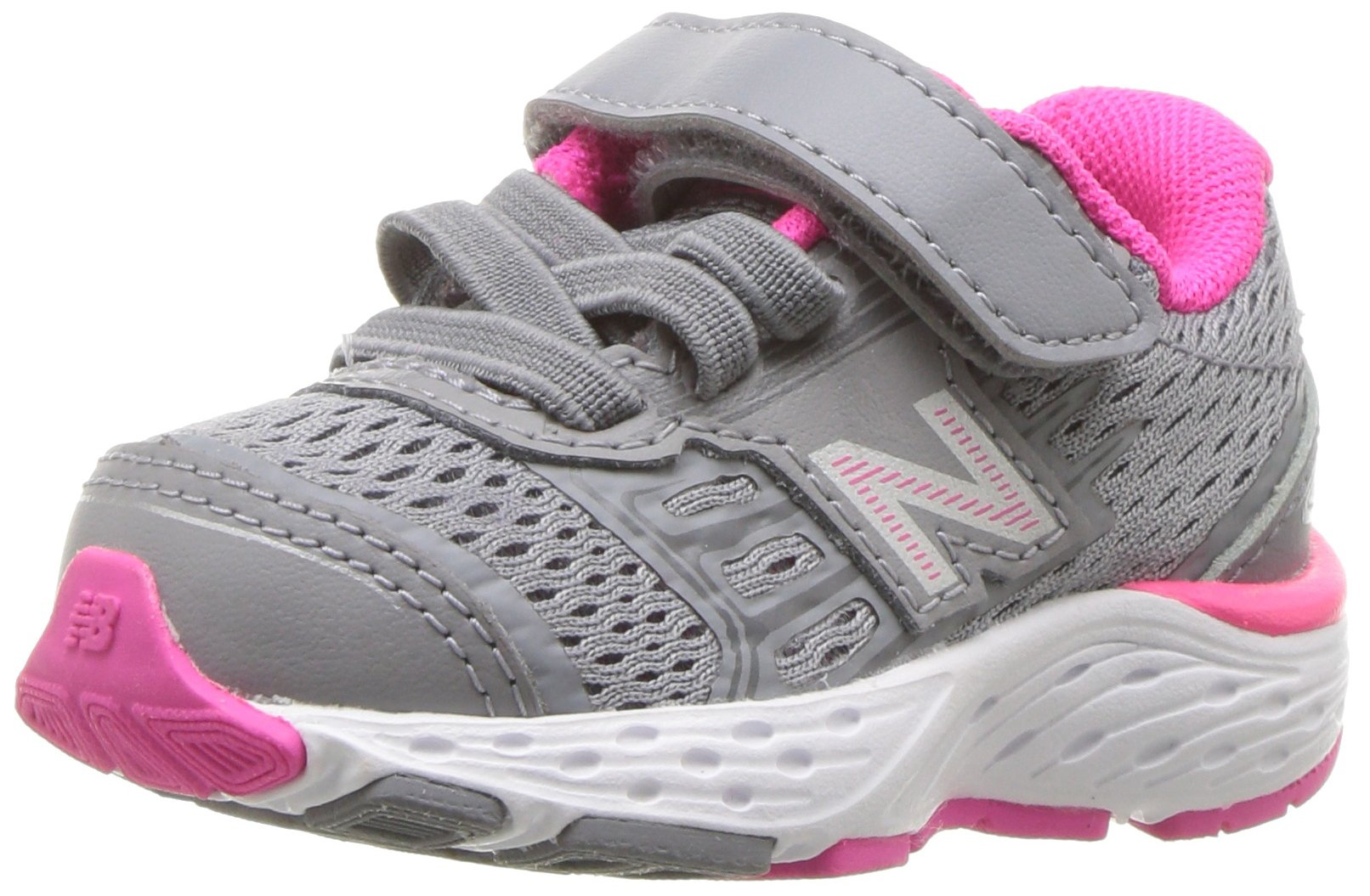 New Balance Girls' 680V5 Hook and Loop Running Shoe, Steel/Pink Glo, 10 W US Toddler