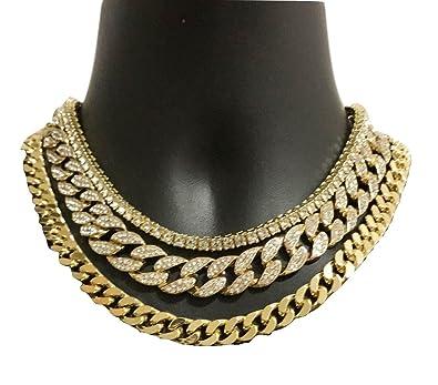8ae69fbf2360 Gargantilla Quavo chapada en oro amarillo de 14 quilates de 50 cm y cadena  de diseño
