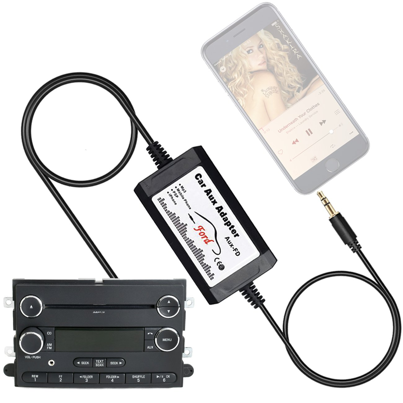 APPS2Car Car Stereo AUX Adapter Audio Cable for Ford F150 F250 F350 F550 Edge Expedition Explorer Focus Freestyle Mustang Sport Trac, Lincoln, Mercury - CD Auxiliary Input Jack Adapters by APPS2Car
