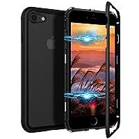CE-Link iPhone 7 Hülle iPhone 8 Hülle Glas mit Magnetisch Panzerglas Rückseite Durchsichtig Handyhülle Transparent Hard Case Ultra Slim Dünn 360 Grad Full Body Protective Schutzhülle Klar Design Bumper Schutz Anti-Kratzer - Schwarz