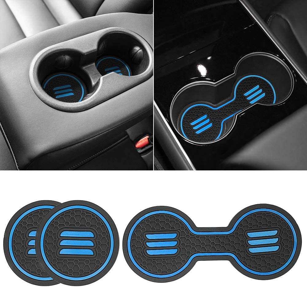 Auovo Auto Car 3D Cup Holder Inserts Coaster Fit for Toyota RAV4 2019 2020 Cup Mat Pad Interior Decoration Accessories 2-pcs kit Black Trim