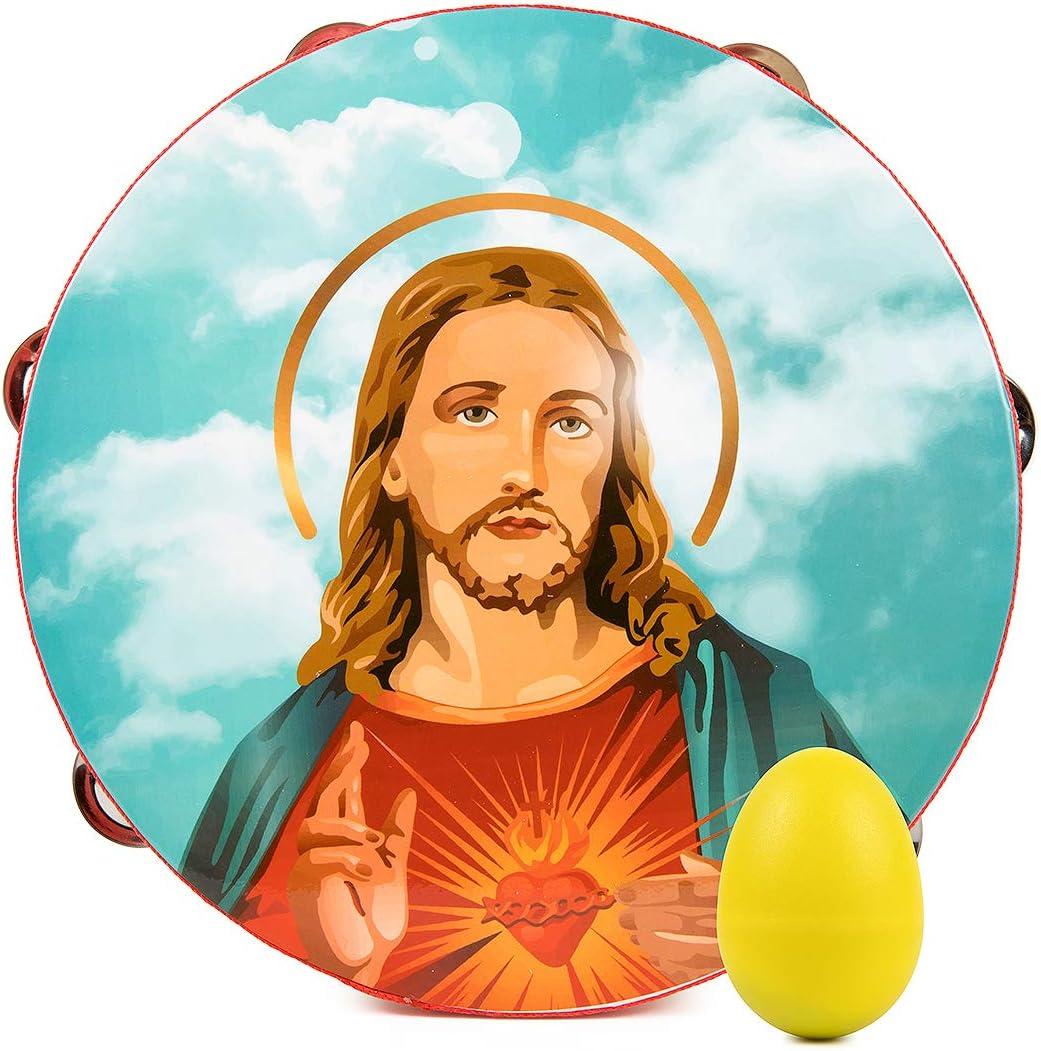Pandereta Archmum de 25 cm Jesús Imagen viene con Bonus Egg Shaker Pack una fila 6 pares de percusiones de metal jingles Instrumento de madera para iglesia religiosa