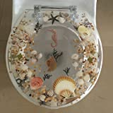 Sea Shell Lucite Tropical Fish Toilet Seat Seashell