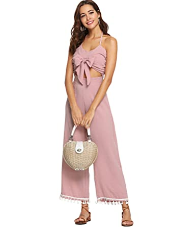 2197a6de253 Amazon.com  Romwe Women s Cut Out Knot Front Sleeveless Halter Jumpsuit   Clothing