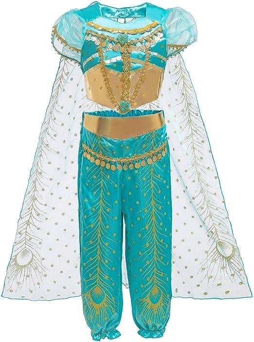 Le SSara Jasmine Princesa Traje para Niños Lentejuelas Halloween ...