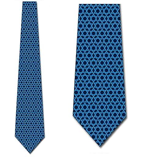 La estrella de David ata la corbata azul religiosa para hombre de ...