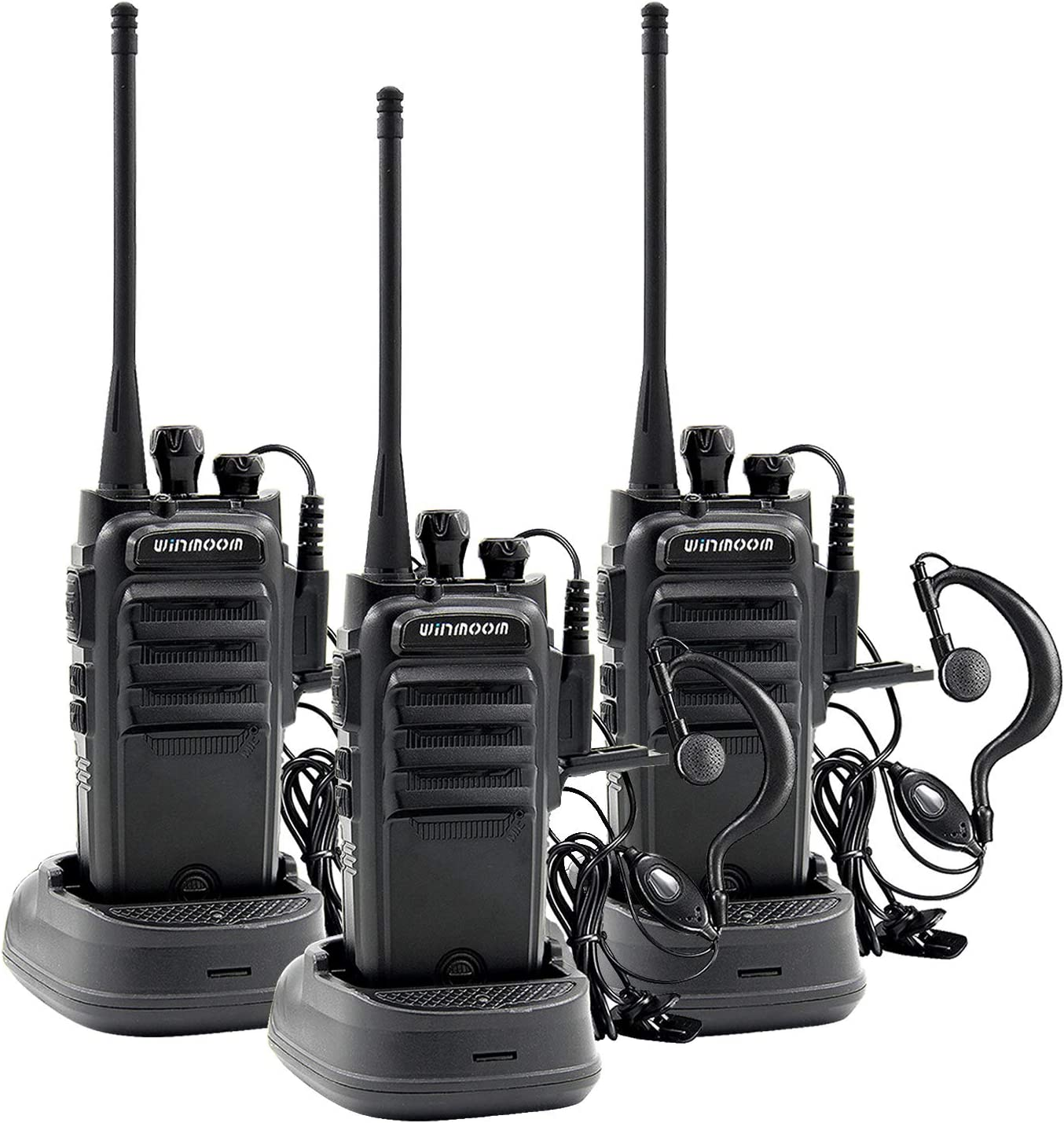 Winmoom Walkie Talkies Long Range Rechargeable Two-Way Radios Earpiece 3 Pack UHF 400-480Mhz Li-ion Battery Charger Included