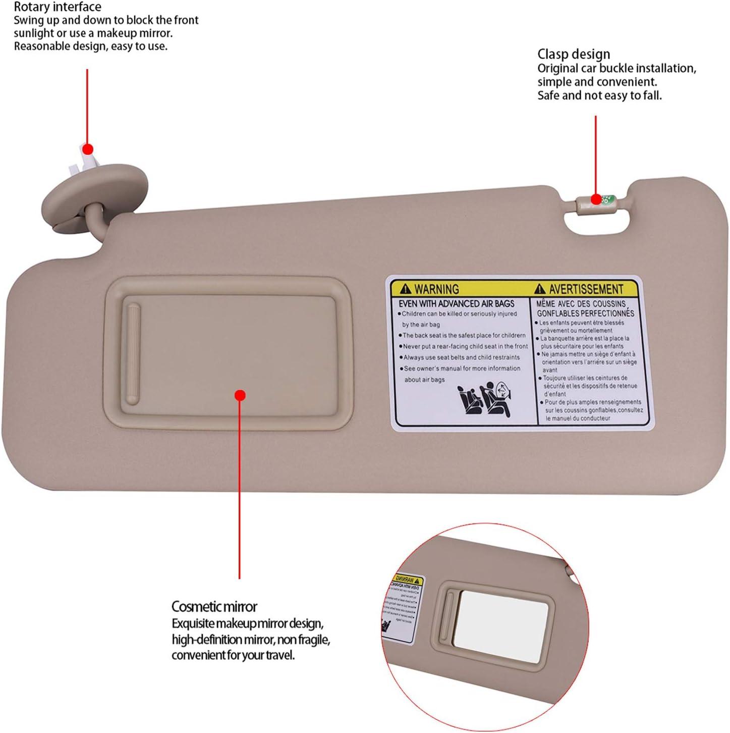 CULMKARI Left Driver Side Sun Visor for Toyota Highlander 2008-2013 with Vanity Light Replaces 74320-48500-B0 Beige