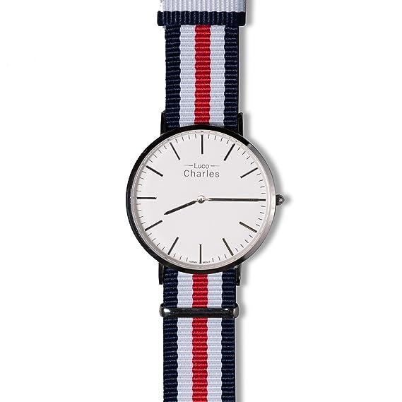 Classic Mortimer 41 mm para hombre OTAN Nylon Correa, minimalista de lujo - Reloj de pulsera, relojes baratos costes: Luco Charles: Amazon.es: Relojes