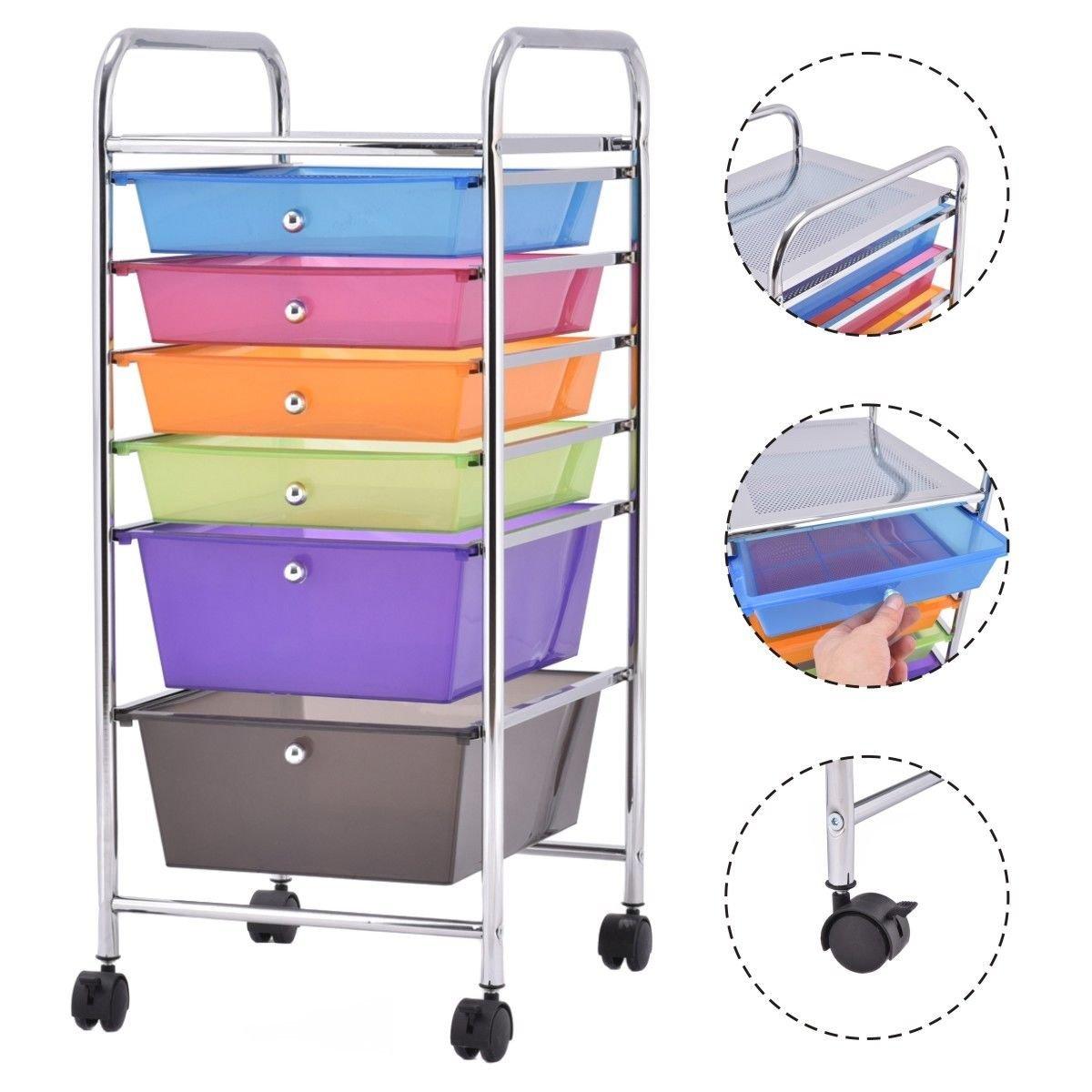 onestops8 6 Drawer Rolling Storage Cart Tools Scrapbook Paper Office School Organizer New