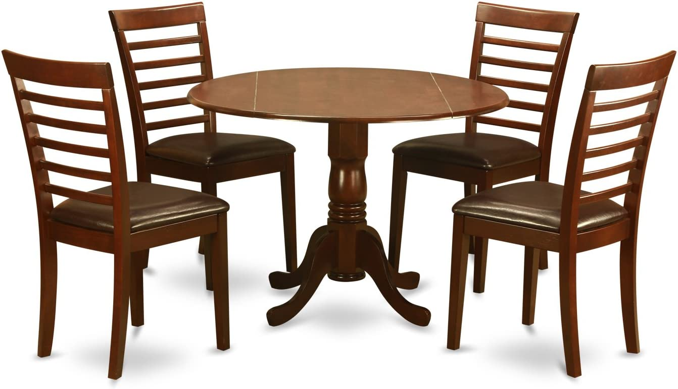 DLML5-MAH-LC 5 Pc small Kitchen Table and Chairs set-small Kitchen Table and 4 Dining Chairs