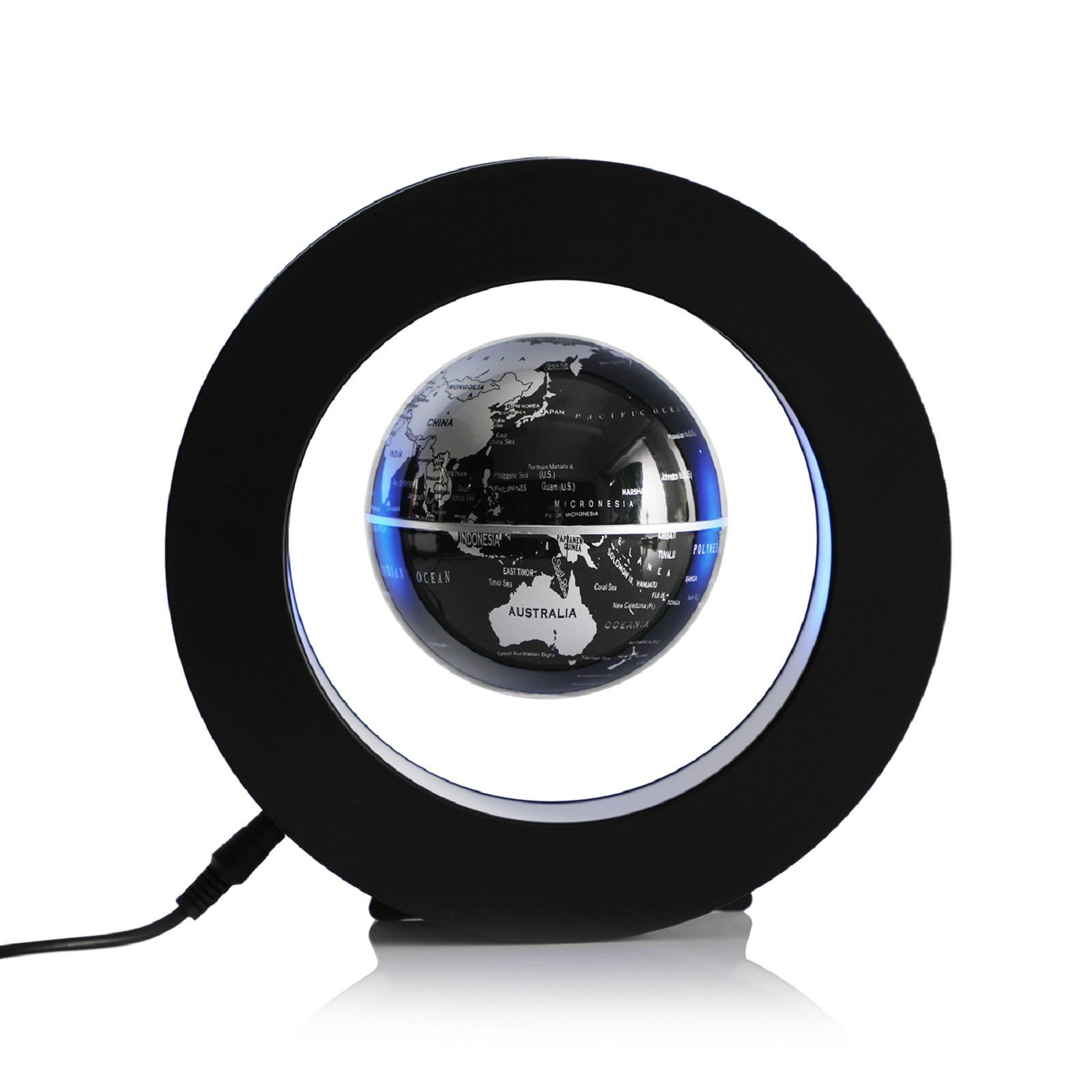 MZS Tec Christmas Decorations, Floating Globe, Magnetic Levitating Globe, World Map Globe With Led Light Suspended In Air, Office Decor (Black)