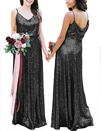 a15f38c33d6 karever Sequin Bridesmaid Dresses Long Prom Dress Spaghetti Backless  Evening Party Gowns V Neck, Black