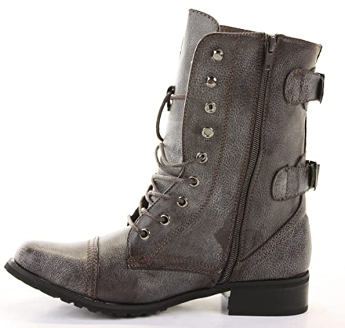 2a486243e8c Ladies Womens Military Army Lace Up Flat Low Heel Zip Goth Biker Ankle  Boots Size 3-8  Amazon.co.uk  Shoes   Bags